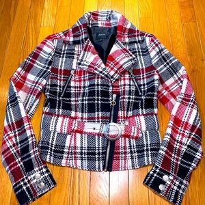 Express Lighter Coat Jacket Plaid Belted Small